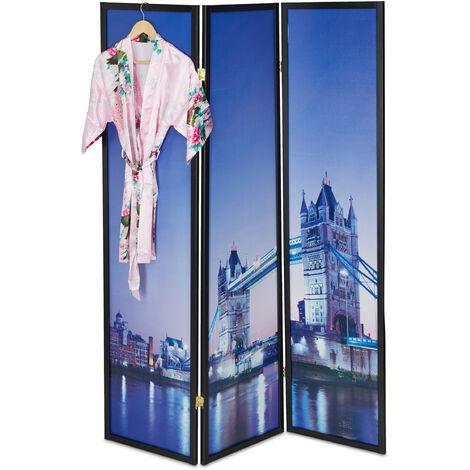 Biombo Londres, 179x132cm, Separador Ambientes, Plegable, Mampara, Madera, Plástico, Divisor Espacios, Panel