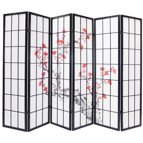 Biombo madera negro con flores de cerezo de 6 paneles, Dim: A264 x A176 x P2 cm