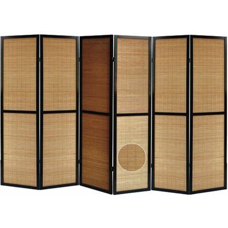 Biombo madera negro y bambú con motivos vegetales 6 paneles