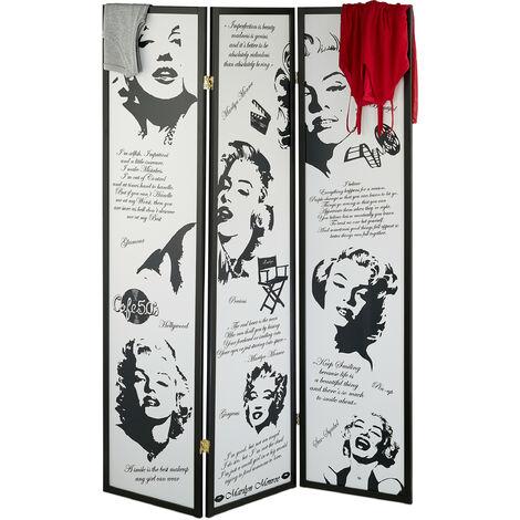 Biombo Marilyn Monroe, 179 x 132 cm, Separador Ambientes, Plegable, Mampara, Madera, Plástico, Blanco y Negro