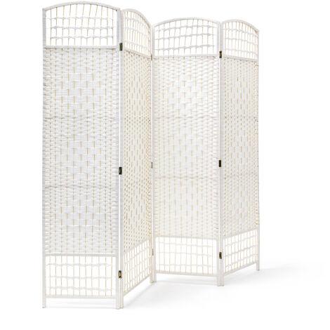 – Biombo / Panel/Divisor/Separador de habitaciones, 179 x 180 x 2 cm, 4 paneles, Madera con puntales de bambú, color blanco