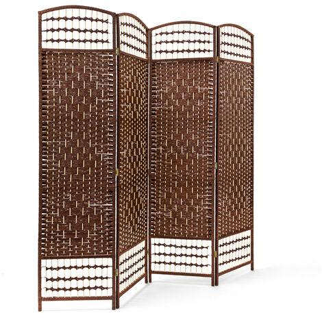 – Biombo / Panel/Divisor/Separador de habitaciones, 179 x 180 x 2 cm, 4 paneles, Madera con puntales de bambú, color marrón