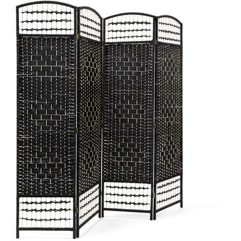 – Biombo / Panel/Divisor/Separador de habitaciones, 179 x 180 x 2 cm, 4 paneles, Madera con puntales de bambú, color negro