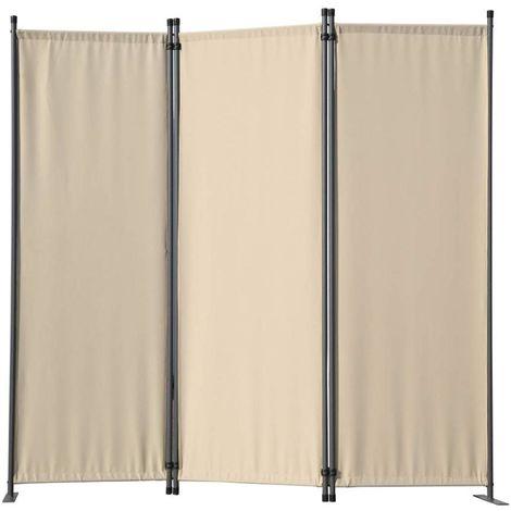 Biombo, pantalla de privacidad, 3plegable, pared de jardín, marcadores laterales de acero y poliéster (Beige)