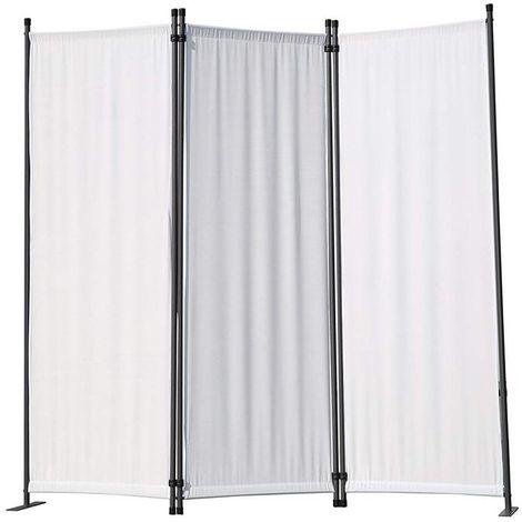 Biombo, pantalla de privacidad, 3plegable, pared de jardín, marcadores laterales de acero y poliéster (Blanco)