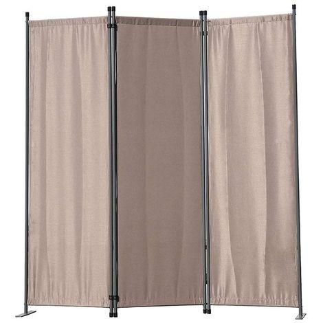 Biombo, pantalla de privacidad, 3plegable, pared de jardín, marcadores laterales de acero y poliéster (Cafe)