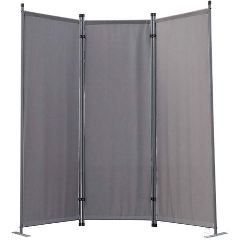 Biombo, pantalla de privacidad, 3plegable, pared de jardín, marcadores laterales de acero y poliéster (Gris)