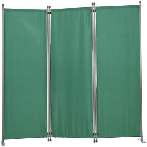 Biombo, pantalla de privacidad, 3plegable, pared de jardín, marcadores laterales de acero y poliéster (Verde)