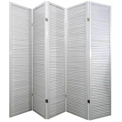 Biombo persiana Turbo Madera blanco / 5 paneles