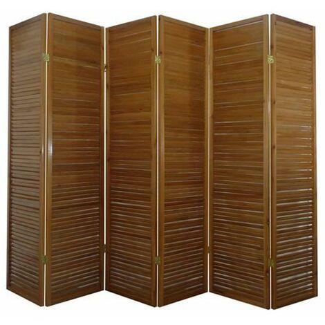 Biombo persiana Turbo Madera marron / 6 paneles