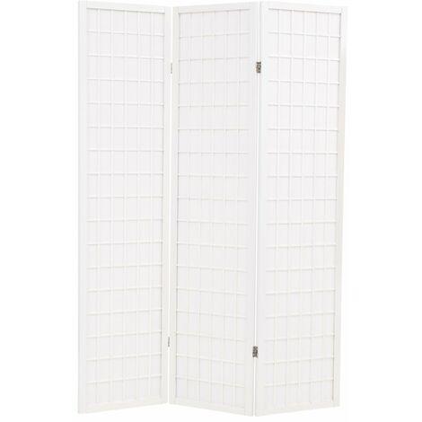 Biombo plegable 3 paneles estilo japones 120x170 cm blanco