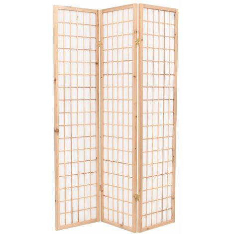 Biombo plegable 3 paneles estilo japones 120x170 cm natural