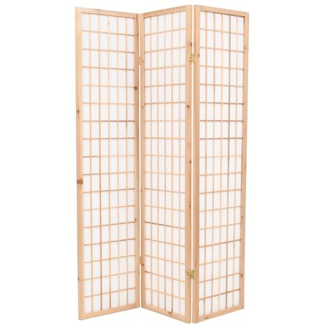 Biombo plegable 3 paneles estilo japonés 120x170 cm natural - Marrón