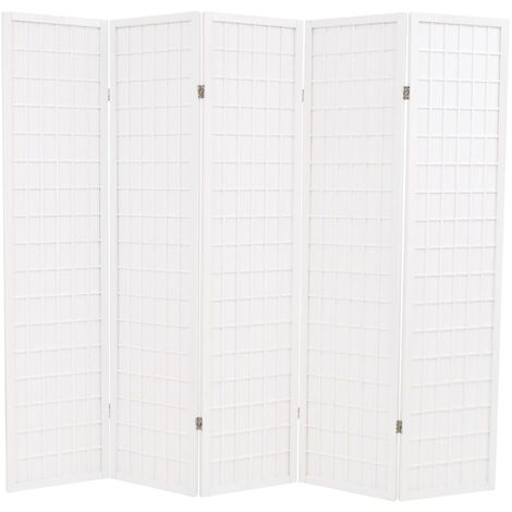 Biombo plegable 5 paneles estilo japonés 200x170 cm blanco
