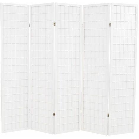 Biombo plegable 5 paneles estilo japones 200x170 cm blanco