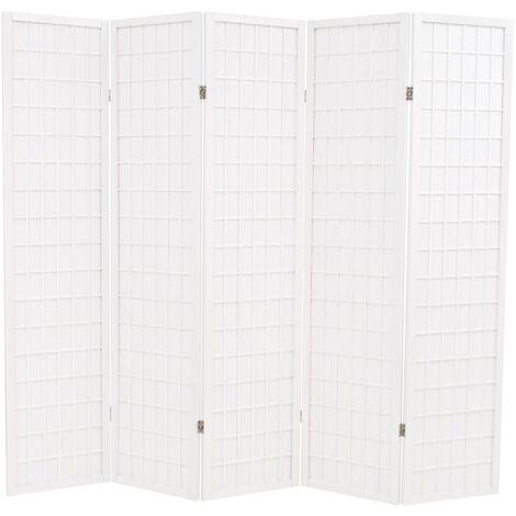 Biombo plegable 5 paneles estilo japonés 200x170 cm blanco - Blanco