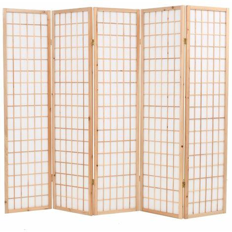 Biombo plegable 5 paneles estilo japones 200x170 cm natural