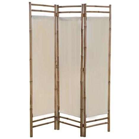 Biombo plegable con 3 paneles 120 cm bambu lona