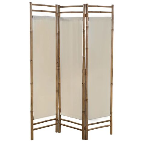 Biombo plegable con 3 paneles 120 cm bambú lona - Crema