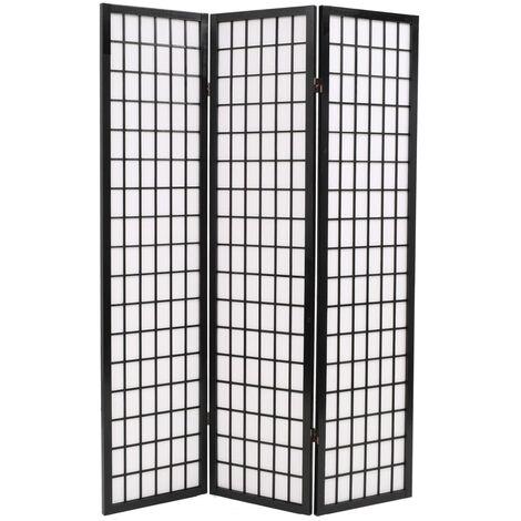 Biombo plegable con 3 paneles estilo japonés 120x170 cm negro - Negro