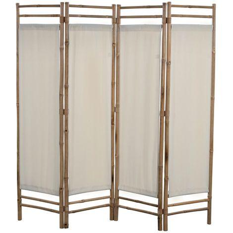 Biombo plegable con 4 paneles 160 cm bambu lona
