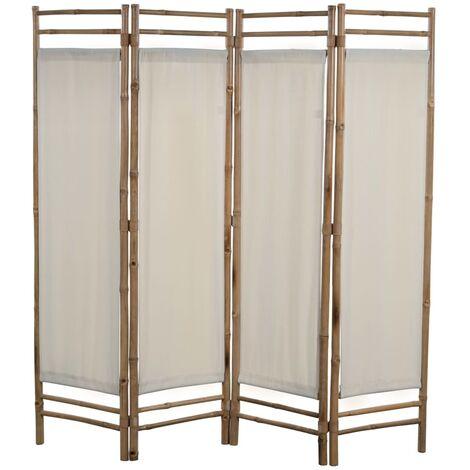 Biombo plegable con 4 paneles 160 cm bambú lona - Crema