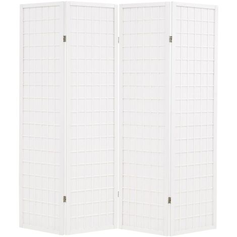Biombo plegable con 4 paneles estilo japonés 160x170 cm blanco