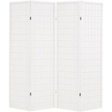 Biombo plegable con 4 paneles estilo japones 160x170 cm blanco