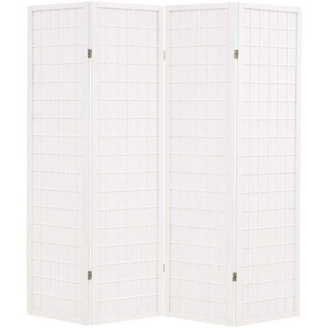 Biombo plegable con 4 paneles estilo japonés 160x170 cm blanco - Blanco