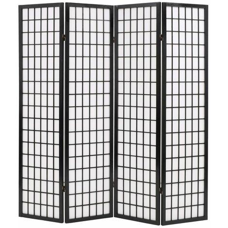 Biombo plegable con 4 paneles estilo japones 160x170 cm negro