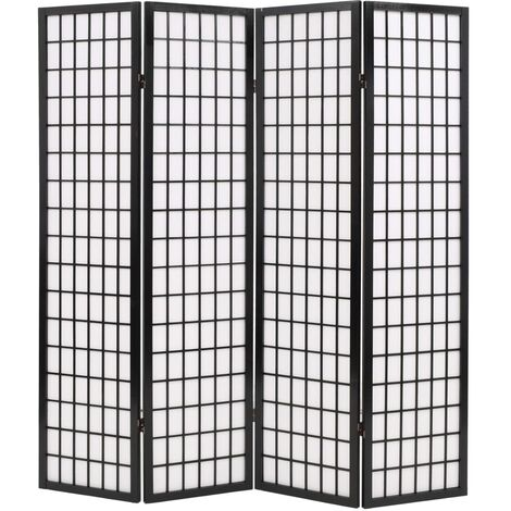 Biombo plegable con 4 paneles estilo japonés 160x170 cm negro - Negro