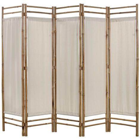 Biombo plegable con 5 paneles 200 cm bambu lona
