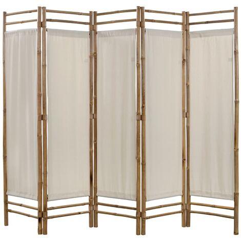Biombo plegable con 5 paneles 200 cm bambú lona - Crema