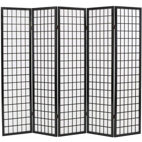 Biombo plegable con 5 paneles estilo japones 200x170 cm negro