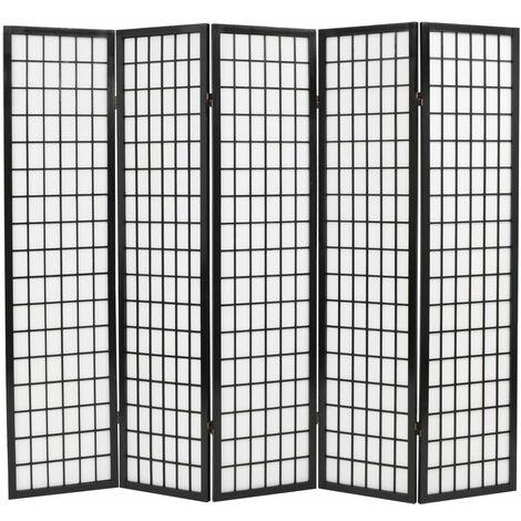 Biombo plegable con 5 paneles estilo japonés 200x170 cm negro - Negro
