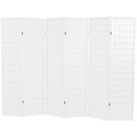 Biombo plegable con 6 paneles estilo japones 240x170 cm blanco