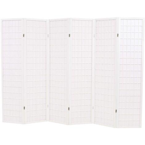 Biombo plegable con 6 paneles estilo japonés 240x170 cm blanco - Blanco