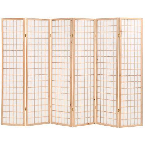 Biombo plegable con 6 paneles estilo japones 240x170 cm natural