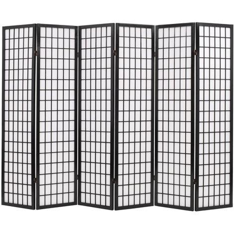 Biombo plegable con 6 paneles estilo japones 240x170 cm negro