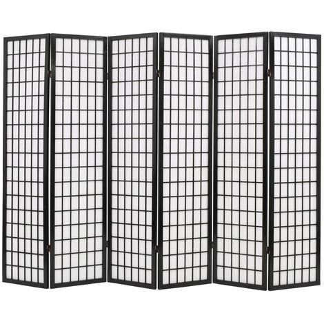 Biombo plegable con 6 paneles estilo japonés 240x170 cm negro - Negro