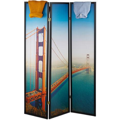 Biombo San Francisco, 179x132cm, Separador de Ambientes, Plegable, Mampara, Madera, Plástico, Divisor Espacios