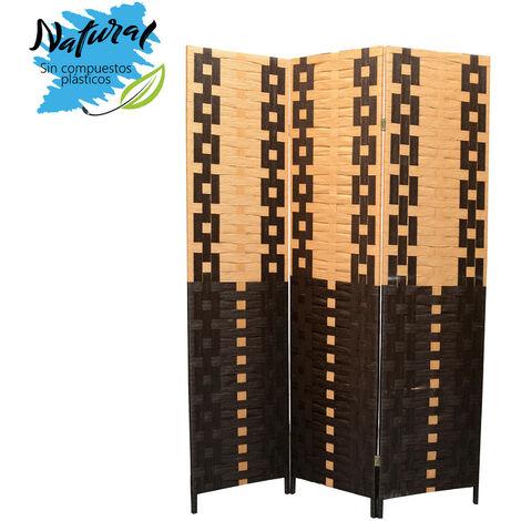 Biombo Seaparador de ambientes, Bambú Natural y papel trenzado Negro/Natural 180 x 135 cm - Hogar y más