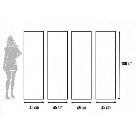 Biombo Separadaor 4 Paneles, Madera Bambú Natural y Papel Trenzado, Plegable 180 cm