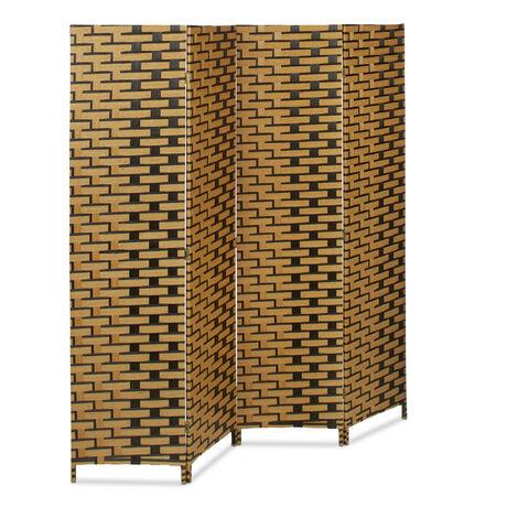 Biombo Separador de 4 Paneles BYÖBU, Parabán Plegable, Bambú, 179 x 180 x 2 cm, Marrón Claro