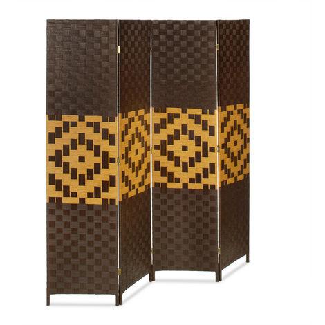 Biombo Separador de 4 Paneles BYÖBU, Parabán Plegable, Bambú, 179 x 180 x 2 cm, Marrón Oscuro