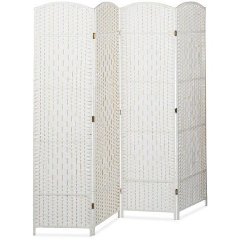 Biombo Separador de 4 Paneles BYÖBU, Parabán Plegable, Madera y Bambú, 179 x 180 x 2 cm, Blanco