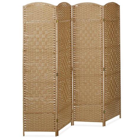 Biombo Separador de 4 Paneles BYÖBU, Parabán Plegable, Madera y Bambú, 179 x 180 x 2 cm, Marrón