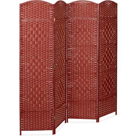 Biombo Separador de 4 Paneles BYÖBU, Parabán Plegable, Madera y Bambú, 179 x 180 x 2 cm, Rojo
