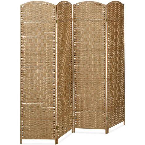 Biombo Separador de 4 Paneles INDIAN, Pantalla Plegable, Madera y Bambú 180x180x2cm