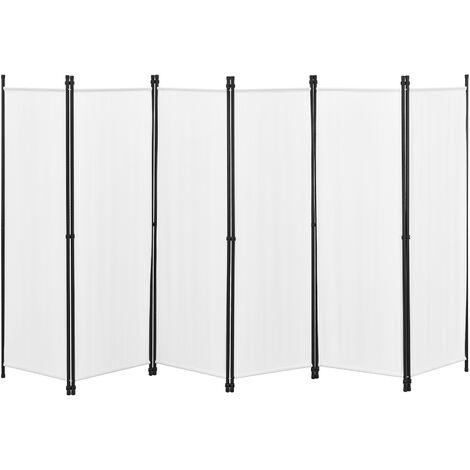 Biombo Separador de 6 Paneles Huesca - 171 x 300 cm - Decoración Interior - Contra Visión - Mampara Lateral Protectora - Pantalla - Divisor de Habitaciones - Acero - Beige